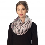 CS6057 Mixed Stripe Viscose Infinity Scarf, Pink
