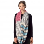 CS6057 Mixed Stripe Viscose Infinity Scarf, Red
