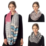 CS6057 Mixed Stripe Viscose Infinity Scarf