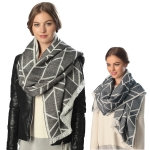 CS6067 REVERSIBLE MULTI LINED PATTERN SCARF