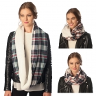 CS6079 Plaid Infinity Scarf with Faux Fur Lining