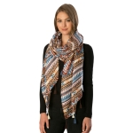 CS6085 Aztec Stripe Pattern Scarf with Tassels