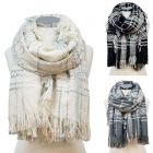 CS6091 Check Plaid Pattern Woven Scarf