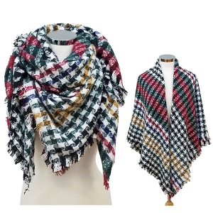 CS6094 Multi-Colored Houndtooth Square Scarf