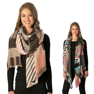 CS6098 Mixed Patchwork Pattern Oblong Scarf