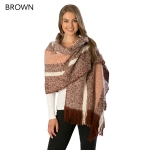 CS6106 Multi-lined Oblong Scarf with Fringes