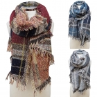 CS6109 Plaid Block Vintage Winter Scarf