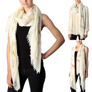CS7003 Feather Pattern Scarf