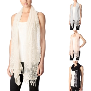 CS7008 Solid Scarf with Half Flower Pattern Lace Scarf