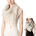 CS7009 LACE TESSEL WITH POLKA DOTS SCARF