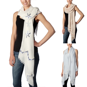 CS7027 Edge Deco Starfish Embroidered Oblong Scarf