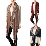 CS7031 Mid Aztec Lined Olblong Scarf with Tassel