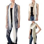 CS7044 Strip Check Pattern Ombre Oblong Scarf