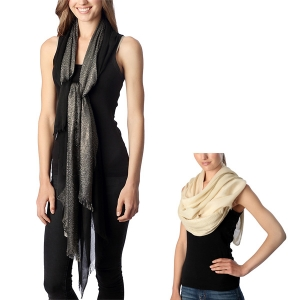 CS7052 Solid Scarf with Half Metalic Accent
