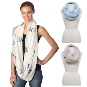 CS7061 STARFISH EMBROIDERED INFINITY SCARF