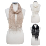 CS7063 Mixed Pattern Crochet Scarf w/ Fringe