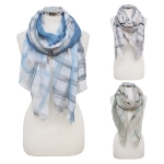 CS7066 Tri-toned Stripe Check Scarf