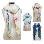 CS7070 Multi Color Pom Pom Scarf