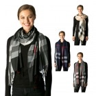 CS7202 Plaid Oblong Scarf W/ Fringe