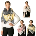 CS7208 Striped Accent Square Scarf
