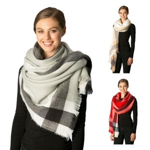 CS7209 Striped Plaid Oblong Scarf