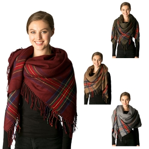 CS7210 Plaid Accent Scarf W/ Fringe