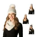 CS7215 Soft Fuzzy Knitted Striped Infinity Scarf