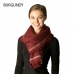 CS7217 Striped Edge Solid Oblong Scarf w/ Frayed Fringe