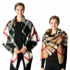 CS7218 Soft Textured Plaid Square Scarf