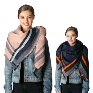 CS7219 Multi-Color Houndstooth Patterned SQ Scarf