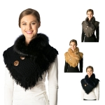 CS7221 Knited Neckwarmer Faux Fur Collar