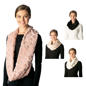 CS7222 Flower Pattern Fauxfur Infinity