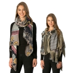 CS7235 Mixed Pattern W/ Flower Accent Scarf