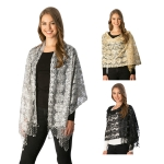 CS7240 Flower Pattern Lace Party Shawl W/Sequin Accents