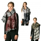 CS7241 Rose & Lines Mixed Pattern Scarf