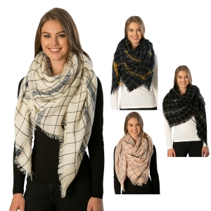 CS7244  Checkered Square Scarf W/Line Accents