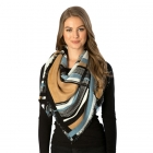 CS7246 Brush Stroke Plaid Pattern Square Scarf