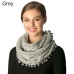 CS7255  Knitted Infinity Scarf W/ Pom Pom