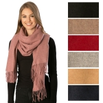 CS7257 Wool Blend Fringed Scarf