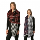 CS7266 Check&Houndtooth Mixed Pattern Scarf