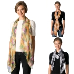 CS8319 Leaf Pattern Chiffon Light Weight Scarf