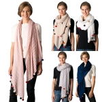 CS8331 Pom Pom Solid Pleated Scarf