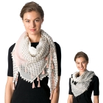 CS8339 Mixed Lace Square Tassel Scarf