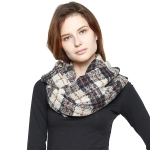 CS8401 Plaid Infinity Scarf, Navy