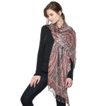 CS8403 Big Paisley Cotton Pashmina Scarf, Grey