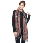 CS8403 Big Paisley Cotton Pashmina Scarf, Navy