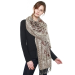 CS8404 Paisley Cotton Pashmina Scarf, Coffee