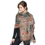 CS8404 Paisley Cotton Pashmina Scarf, Teal