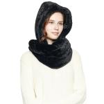 CS8407 Soft Faux Fur Hooded Infinity Scarf, Black
