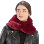 CS8407 Soft Faux Fur Hooded Infinity Scarf, Burgundy